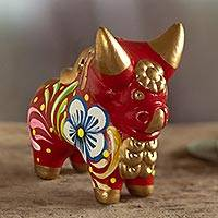 Ceramic figurine, 'Little Red Pucara Bull' - Hand Painted Red Ceramic Bull Sculpture Floral from Peru