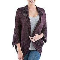 Alpaca blend cardigan, 'Boysenberry Stripes' - Striped Alpaca Blend Cardigan in Boysenberry from Peru