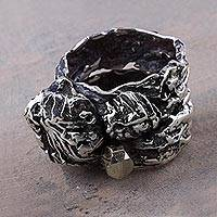 Sterling silver and pyrite band ring, 'Nature's Mysteries' - Band Ring with Leaf and Tree Design in 925 Silver and Pyrite