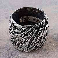 Sterling silver band ring, 'Bold Whirlwind' - 925 Artisan Jewelry Wide Sterling Silver Band Ring from Peru