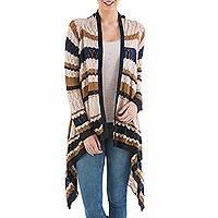 Cardigan sweater, 'Evening Mirage' - Striped Beige Cardigan Sweater from Peru