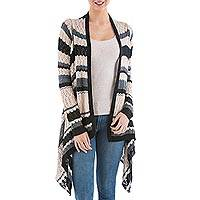 Cardigan sweater, 'Nighttime Mirage' - Striped Beige Cardigan Sweater from Peru