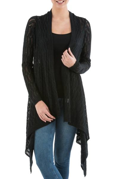 Cardigan sweater, 'Black Mirage' - Black Cardigan Sweater with Sidetail Hem