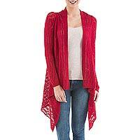Cardigan sweater, 'Red Mirage' - Red Sidetail Cardigan Sweater from Peru
