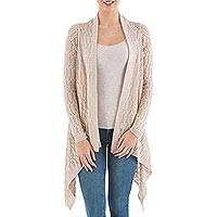 Cardigan sweater, 'Beige Mirage' - Beige Sidetail Cardigan Sweater from Peru