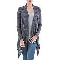 Cardigan sweater, 'Grey Mirage'