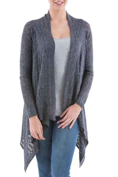 Cardigan sweater, 'Grey Mirage' - Grey Sidetail Cardigan Sweater from Peru