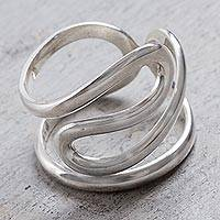 Silver band ring, 'Sky Curves' - Peruvian Jewelry High Polish 950 Silver Modern Band Ring