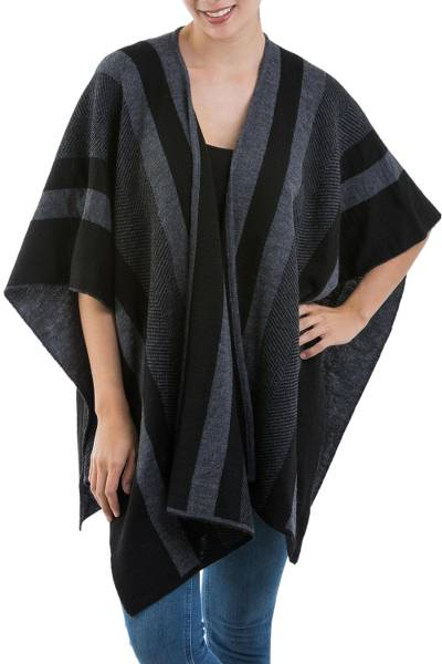 Alpaca blend ruana, 'Gunmetal Stripes' - Striped Alpaca Blend Ruana in Gunmetal and Black from Peru