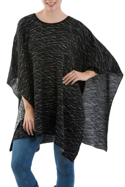 Alpaca blend poncho, 'Watery Night' - Alpaca and Wool Blend Poncho in Eggshell and Black from Peru