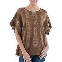 Alpaca blend sweater, 'Wheat Stripes' - Knit Alpaca Blend Sweater in Golden Brown from Peru