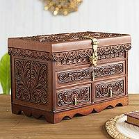 Leather and cedar wood jewelry box, 'Paradise Memories' - Leather and Cedar Wood Wood Jewelry Box with Bird Motifs