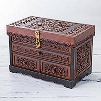 Wood and leather jewelry box, 'Incan Parrot' - Peruvian Leather Embossed Wood Jewelry Box with Incan Motifs