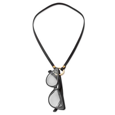 Leather eyeglasses holder, 'Studious Elegance in Black' - Leather and Brass Eyeglasses Holder in Black from Peru
