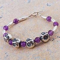 Amethyst beaded bracelet, 'Violet Owls' - Amethyst and Sterling Silver Beaded Bracelet from Peru