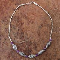 Amethyst beaded necklace, 'Purple Shells' - 925 Sterling Silver and Amethyst Beaded Pendant Necklace