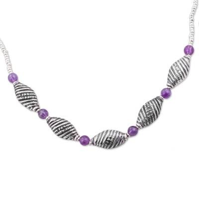 Amethyst beaded necklace, 'Purple Shells' - 925 Sterling Silver and Amethyst Beaded Pendant Necklace