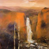 'Timeless Torrent in Ocher' (2015) - Painting of Waterfall in Ocher Landscape in Peru Signed Art