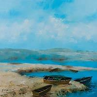 'Cove in Paracas' (2015) - Paracas Seascape Painting Signed Realism Art from Peru