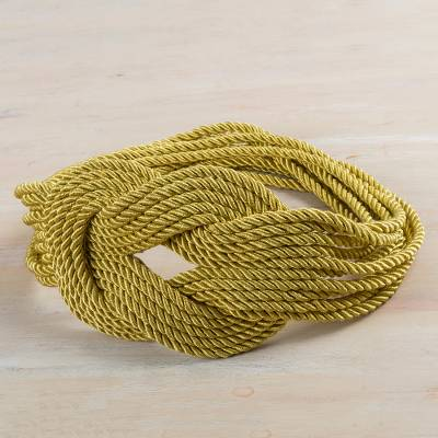 Rope belt, 'Dorado Braids' - Hand Made Modern Rope Belt in Gold Color from Peru