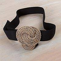 Stretch belt, 'Modern Knot' - Modern Stretch Rope Belt in Beige and Black from Peru