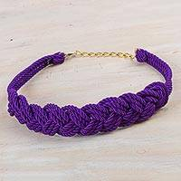 Rope belt, 'Modern Braids in Amethyst' - Hand Made Modern Rope Belt in Amethyst from Peru