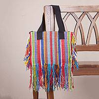 Wool shoulder bag, 'Fringed Stripes' - Hand Woven Multicolored Striped Wool Shoulder Bag from Peru