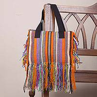 Wool shoulder bag, 'Fringed Stripes in Orange' - Hand Woven Striped Wool Shoulder Bag in Orange from Peru