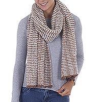 Baby alpaca blend scarf, 'Caramel Connection' - Peruvian Boucle Scarf in Caramel & Off White Alpaca Blend
