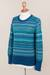 100% alpaca sweater, 'Azure Dreams' - Blue 100% Alpaca Pullover Sweater from Peru (image 2e) thumbail