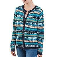100% alpaca cardigan, 'Cozy Days' - 100% Alpaca Wool Cardigan Sweater from Peru