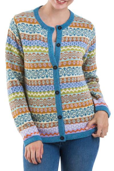 100% alpaca cardigan, 'Sweet Cake' - Multicolor 100% Alpaca Cardigan Sweater from Peru