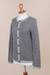 100% alpaca cardigan, 'Cloudy Sky' - Grey 100% Alpaca Wool Cardigan Sweater from Peru (image 2e) thumbail