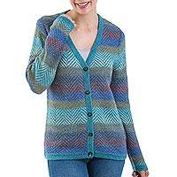 100% alpaca cardigan, 'Harbor Lights' - 100% Alpaca Wool Cardigan Sweater from Peru