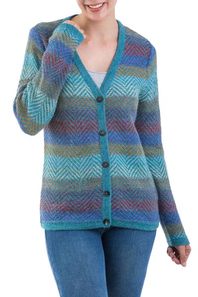 100% alpaca cardigan, 'Harbor Lights' - 100% Alpaca Wool Cardigan Sweater from Peru