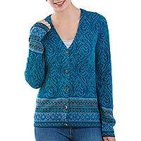100% alpaca cardigan, 'Dreamy Blues' - Teal 100% Alpaca Wool Cardigan Sweater from Peru
