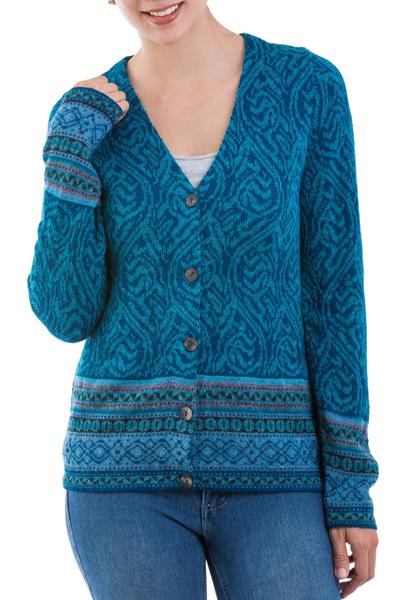 100% alpaca cardigan, 'Dreamy Blues' - Teal 100% Alpaca Wool Cardigan Sweater from Peru