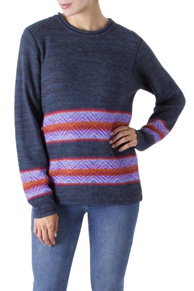 100% alpaca sweater, 'Evening Sky' - 100% Alpaca Wool Pullover Sweater from Peru