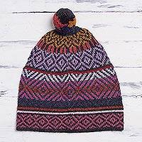 100% alpaca hat, 'Andean Pride' - Multicolored Alpaca Cap with Pompom from Peru