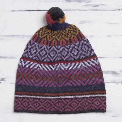 100% alpaca hat, 'Andean Pride' - Multicolored Alpaca Cap with Pompom from Peru