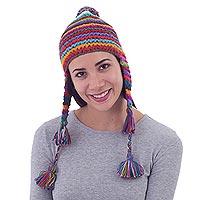 100% alpaca chullo hat, 'Tactile Rainbow' - Striped Multicolored Alpaca Chullo Hat with Pompom from Peru