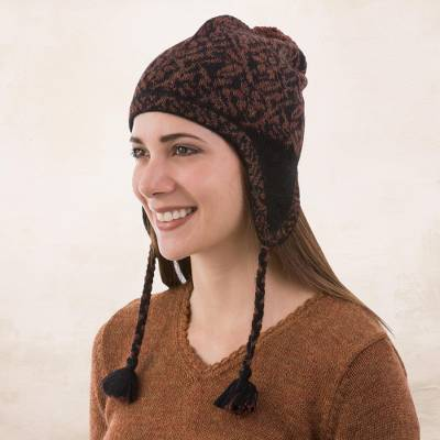 c05405dcd Alpaca Knit Floral Chullo Hat in Black and Brick from Peru, 'Floral Andes'