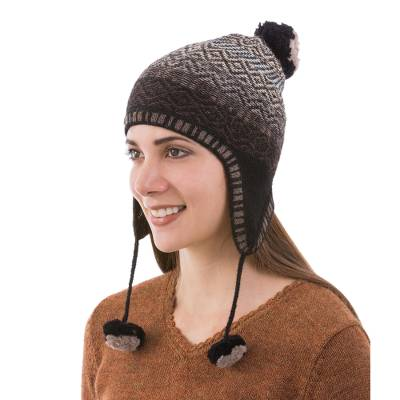100% alpaca chullo hat, 'Mahogany Brown Andean Pride' - Alpaca Chullo Hat in Mahogany and Eggshell from Peru