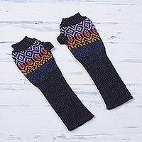 100% alpaca fingerless mitts, 'Andean Pride' - Multicolored 100% Alpaca Wool Fingerless Gloves from Peru