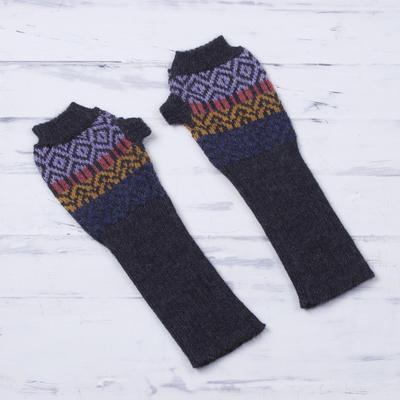 100% alpaca fingerless gloves, 'Andean Pride' - Multicolored 100% Alpaca Wool Fingerless Gloves from Peru