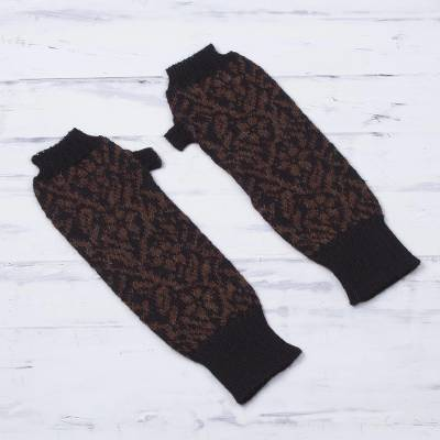 100% alpaca fingerless mitts, 'Floral Andes' - Alpaca Knit Floral Fingerless Gloves in Black and Brick Peru
