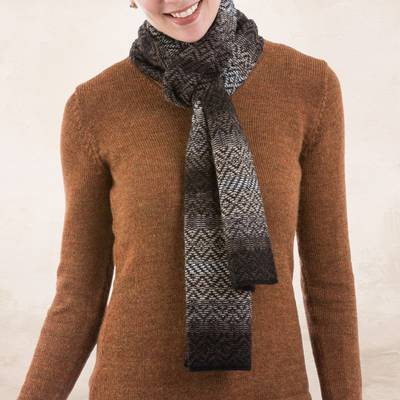 100% alpaca scarf, 'Mahogany Brown Andean Pride' - 100% Alpaca Scarf in Mahogany and Eggshell from Peru