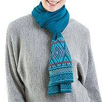 100% alpaca scarf, 'Winter Rhombi' - 100% Alpaca Wrap Scarf in Teal and Cerulean from Peru