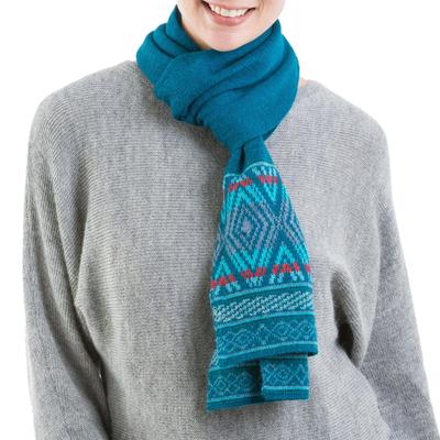 100% alpaca scarf, 'Winter Rhombi' - 100% Alpaca Wrap Scarf in Teal and Cerulean from Peru