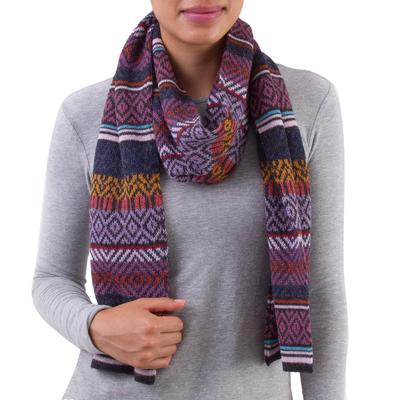100% alpaca scarf, 'Andean Pride' - Multicolored 100% Alpaca Wrap Scarf from Peru